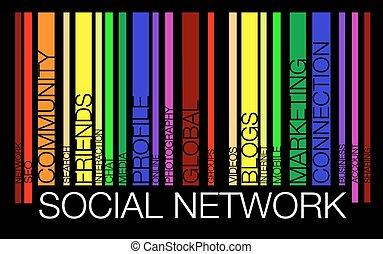 begreb, glose, netværk, barcode