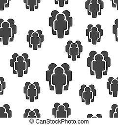 begreb, gruppe, brugere, folk branche, pattern., seamless, pictogram., baggrund., vektor, illustration, hvid