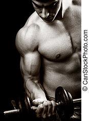begreb, gymnastiksal, -, bodybuilder, duelighed, dumbbell