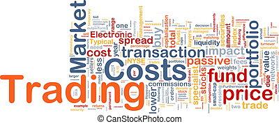 begreb, handlende, baggrund, omkostninger