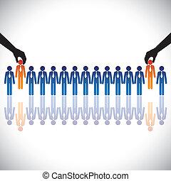 begreb, hiring(chosing), graphic-, arbejde, vektor, ansøgerene, bedst