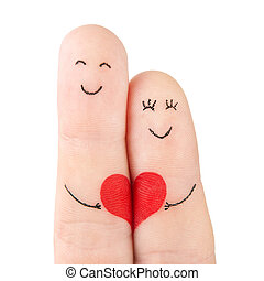 begreb, hjerte, familie, mal, -, fingre, isoleret, kvinde,...