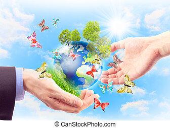 begreb, i, arven, jord, by, fremtid, generationer
