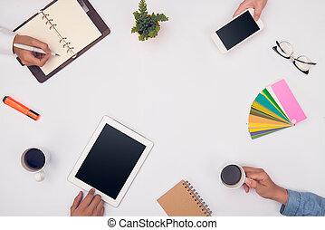begreb, i, designeren, teamwork., gruppe folk branche, planlægning, by, en, nye, projekt