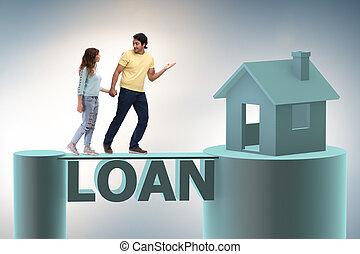 begreb, i, familie, indtagelse, hypotek lån, by, hus