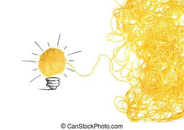 begreb, i, ide, og, nyhed, hos, uld, bold