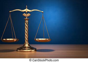 begreb, i, justice., lov, skalaer, på, blå, baggrund.