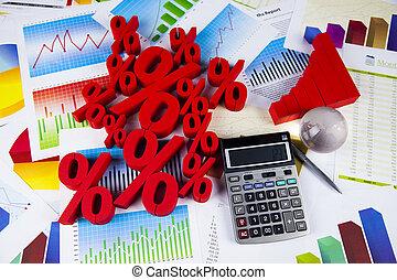 begreb, i, rabat, per cents underskriver
