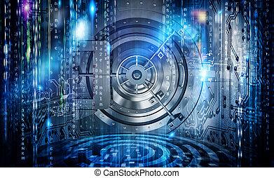 begreb, i, security internet, sammenhænge, hos, pengeskab