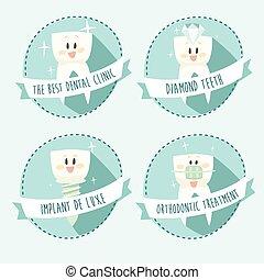 begreb, i, sunde tænder, ikon, sæt, vektor, illustration,...