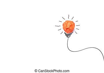 begreb, ide, hos, avis, lys pære, afsondre, på hvide, baggrund
