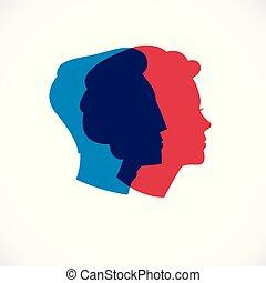 begreb, klassisk, enkel, profiler, lukke, logo, design.,...