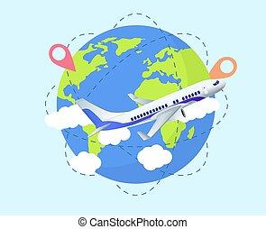 begreb, klode, rejse, flyvemaskine, verden