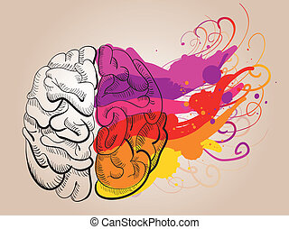 begreb, -, kreativitet, og, hjerne