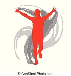 begreb, løber, isoleret, afføringen, vektor, baggrund, mand