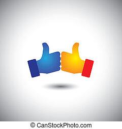 begreb, ligesom, folk, sejre, -, oppe, to, vektor, tommelfingre, eller