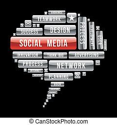 begreb, medier, internet, tale, buble, sociale