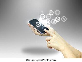 begreb, medier, sociale, hold ræk, digital verden