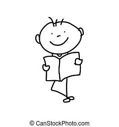 begreb, mor, cartoon, hånd, affattelseen, dag, glade