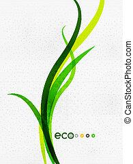 begreb, natur, eco, blade, flyve, grønne, blomstrede, |,...