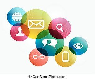 begreb, netværk, farverig, sociale