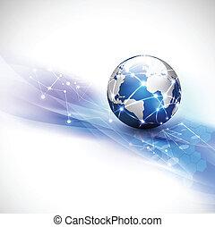 begreb, netværk, kommunikation, flyde, afføringen, verden, teknologi
