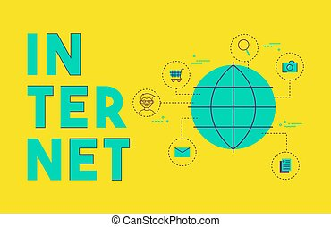 begreb, netværk, medier, globale, internet, sociale