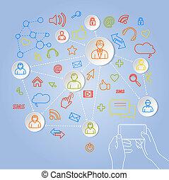begreb, netværk, telefon, vektor, sociale, bruge