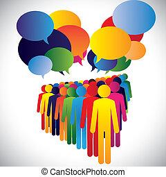 begreb, og, kommunikation, selskab, -, vektor,...