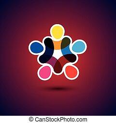 begreb, og, -, samfund, enhed, vektor, gra, venskab,...