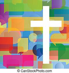begreb, plakat, abstrakt, kors, illustration, kristenhed, religion, vektor, baggrund, mosaik