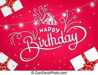 begreb, plakat, glade, vektor, gilde, fødselsdag