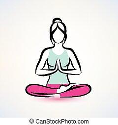 begreb, positur, lotus, wellness, yoga, kvinder