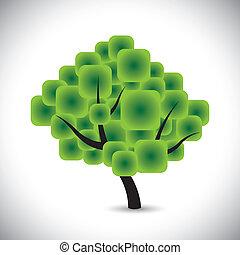 begreb, rounded, abstrakt, træ, vektor, løvværk, kvadraterer