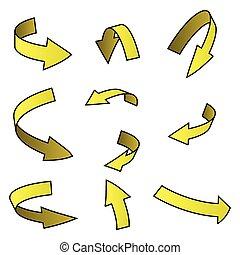 begreb, sæt, firma, isoleret, gul, symbol, baggrund., vektor, illustration, pil, krummet, hvid, ikon