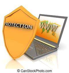 begreb, skjold, -, notesbog, security internet