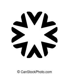 begreb, stjerne, firma, abstrakt, vektor, sort, skabelon, logo, blomstrede, professionel, cirkel, icon., design.
