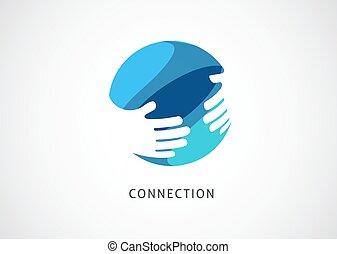 begreb, symbol, samarbejde, logo, tegn, håndslag, vektor, netværk, template., abstrakt formgiv