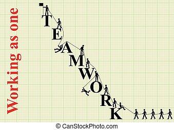 begreb, teamwork, bjerg