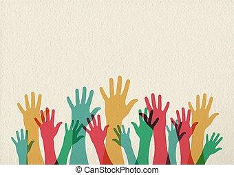 begreb, teamwork, farverig, illustration, hænder