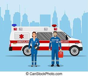 begreb, tjeneste, medicinsk, ambulance, hjælpemiddel, først