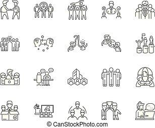 begreb, udkast, sæt, iconerne, illustration, vektor, beklæde, tegn, collegues