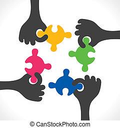begreb, vektor, teamwork