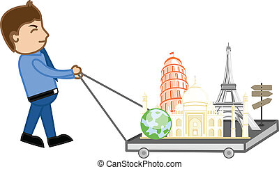 begreb, verden, rejsen, vektor, cartoon