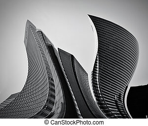 begrebsmæssig, abstrakt, skyskrabere, firma, arkitektur