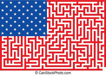 begrebsmæssig, labyrint, amerikaner flag