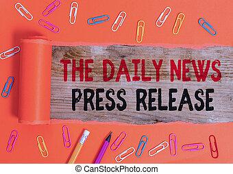begrebsmæssig, release., nyhed, eller, kungør, stor, tekst, viser, tal, showing., firma, fotografi, skrift, presse, daglige, hånd