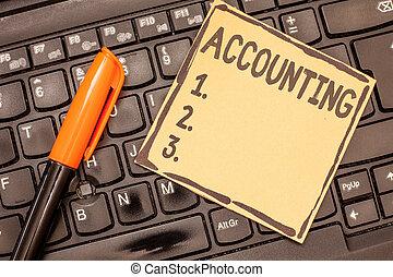 begrebsmæssig, skriv ræk, viser, accounting., firma, fotografi, showcasing, proces, arbejde, i, fortsætte, og, analyserer, finansielle, konti