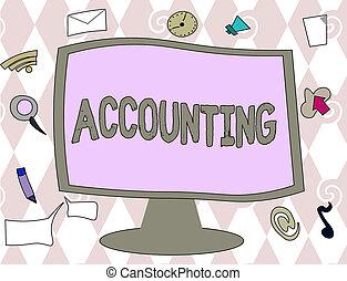 begrebsmæssig, skriv ræk, viser, accounting., firma, fotografi, tekst, proces, arbejde, i, fortsætte, og, analyserer, finansielle, konti