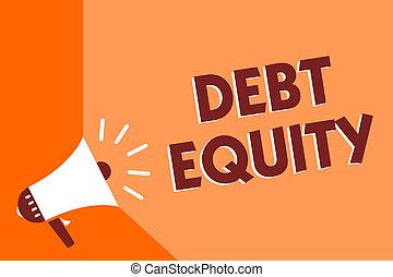 begrebsmæssig, skriv ræk, viser, gæld, equity., firma, fotografi, tekst, dele, companys, total, liabilities, af, dets, aktionærer, megafon, loudspeaker, orange baggrund, vigige, meddelelse, speaking.